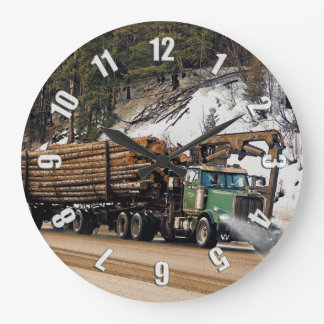 Fun Log In - Log Out Logging Trucker Art Design Large Clock