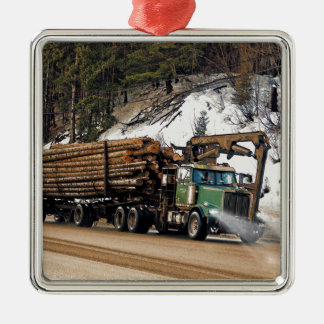 Fun Log In - Log Out Logging Trucker Art Design Metal Ornament