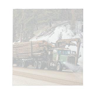 Fun Log In - Log Out Logging Trucker Art Design Notepad