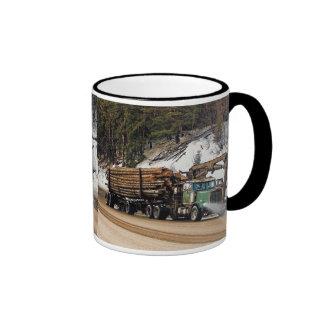 Fun Log In - Log Out Logging Trucker Art Design Ringer Mug