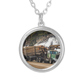 Fun Log In - Log Out Logging Trucker Art Design Silver Plated Necklace
