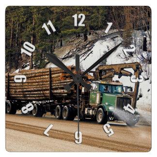 Fun Log In - Log Out Logging Trucker Art Design Square Wall Clock