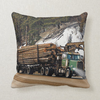 Fun Log In - Log Out Logging Trucker Art Design Throw Pillow