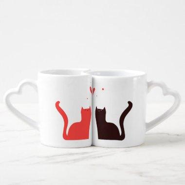 Fun Love Cats Couples Mug Set Red Black