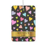 [ Thumbnail: Fun, Loving, Colorful Hearts Pattern & Custom Name Air Freshener ]