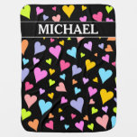 [ Thumbnail: Fun, Loving, Colorful Hearts Pattern + Custom Name Baby Blanket ]