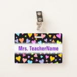 [ Thumbnail: Fun, Loving, Colorful Hearts Pattern + Custom Name Badge ]