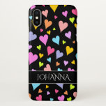 "Fun, Loving, Colorful Hearts Pattern   Custom Name iPhone X Case<br><div class=""desc"">This cheerful,  fun and loving phone case design features a pattern of heart shapes of various sizes and colored a variety of colors. It also features a customizable name within a dark colored band.</div>"