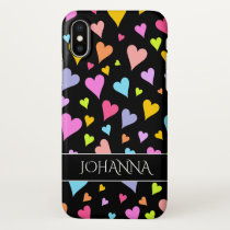 Fun, Loving, Colorful Hearts Pattern   Custom Name iPhone X Case