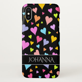 Fun, Loving, Colorful Hearts Pattern + Custom Name iPhone X Case