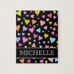 [ Thumbnail: Fun, Loving, Colorful Hearts Pattern + Custom Name Jigsaw Puzzle ]