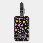 [ Thumbnail: Fun, Loving, Colorful Hearts Pattern + Custom Name Luggage Tag ]