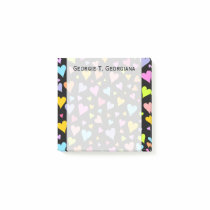 Fun, Loving, Colorful Hearts Pattern   Custom Name Post-it Notes