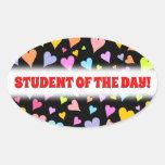 [ Thumbnail: Fun, Loving, Colorful Hearts Pattern Sticker ]