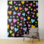 [ Thumbnail: Fun, Loving, Colorful Hearts Pattern Tapestry ]