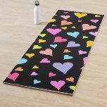 [ Thumbnail: Fun, Loving, Colorful Hearts Pattern Yoga Mat ]