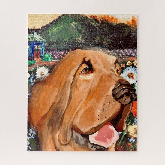 Fun-loving Dark Tan Dog Face with Cute Background Jigsaw Puzzle