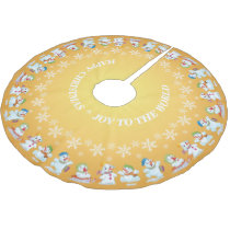 Fun Loving Snowmen and Snowflakes Gold Brushed Polyester Tree Skirt