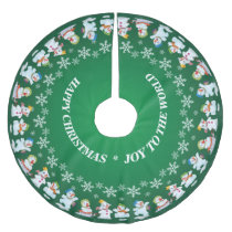 Fun Loving Snowmen and Snowflakes Brushed Polyester Tree Skirt