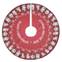 Fun Loving Snowmen and Snowflakes Red Brushed Polyester Tree Skirt