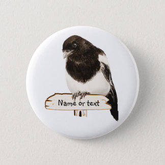 Fun Magpie Bird with Custom Name or text Button