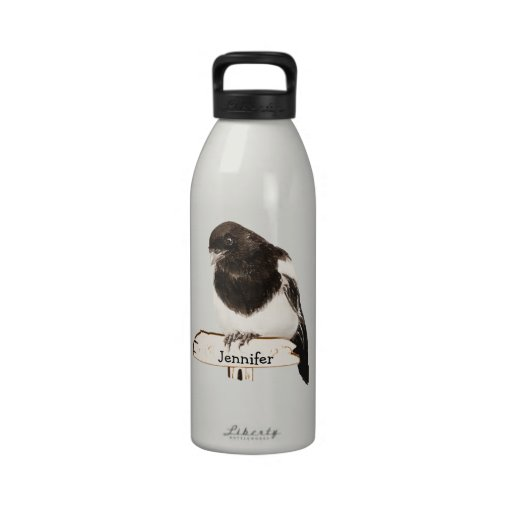 Fun Magpie Bird with Custom Name or text Water Bottle
