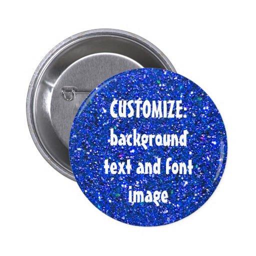 FUN! MAKE YOUR OWN BLUE GLITTER PIN! ** 2 Inch Round Button