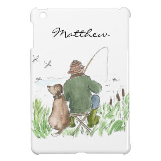 Fun Man Fishing with Dog on Riverbank iPad Mini Cover