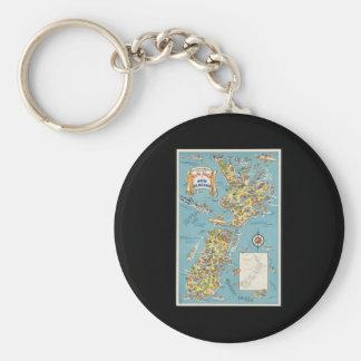 Fun map of New Zealand Keychain