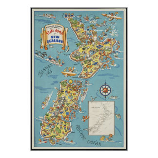 Fun map of New Zealand Poster