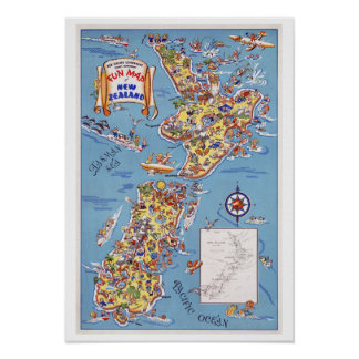 Fun Map of New Zealand ~ Vintage Travel Poster