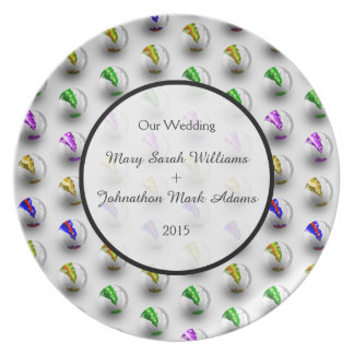 Fun Marbles Colourful Pattern Wedding Keepsake Melamine Plate