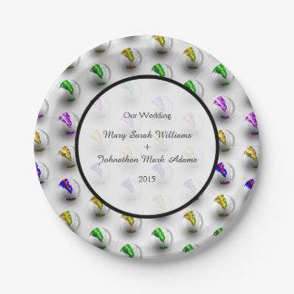 Fun Marbles Colourful Pattern Wedding Keepsake Paper Plate