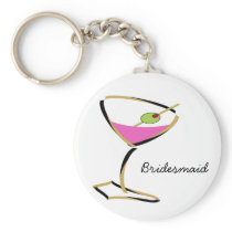 fun martini gold keychain