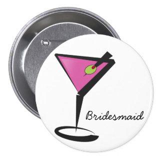 fun martini hot pink 3 inch round button