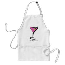 fun martini hot pink adult apron