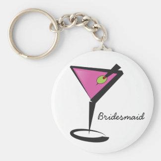 fun martini hot pink basic round button keychain