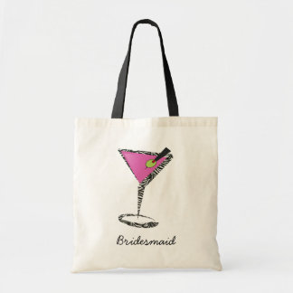 fun martini hot pink budget tote bag