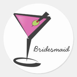 fun martini hot pink classic round sticker