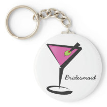fun martini hot pink keychain