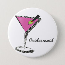 fun martini hot pink pinback button