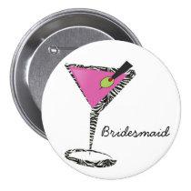 fun martini hot pink pinback button