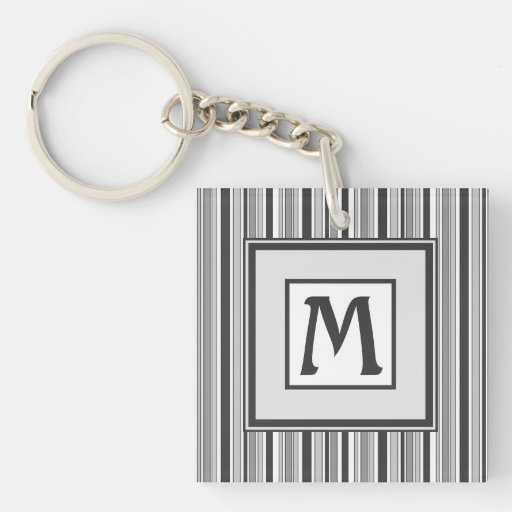 Fun Masculine Stripes Pattern in Monochrome Double-Sided Square Acrylic Keychain