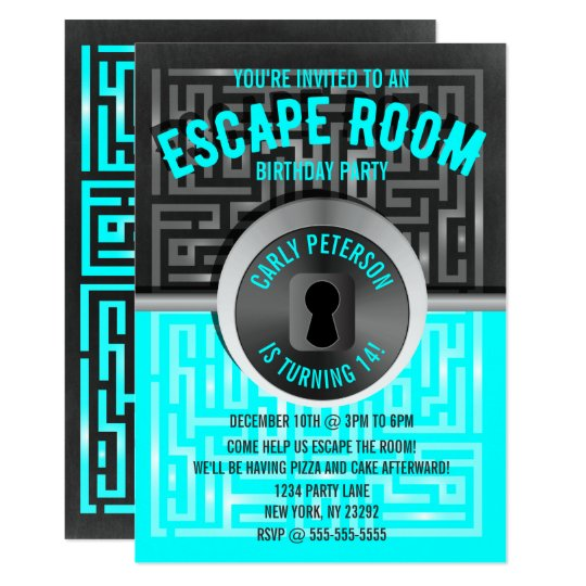 Fun maze escape room party invitations for Escape room party
