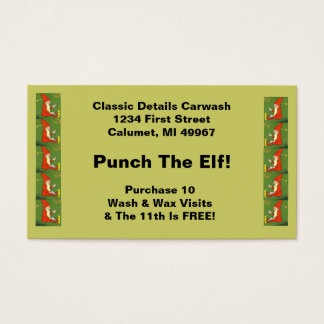 Fun Memorable Punch the Elf Business Loyalty Cards