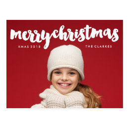 Fun Merry Christmas Handwriting Postcard