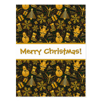 Fun Merry Christmas Theme Shapes Pattern Postcard