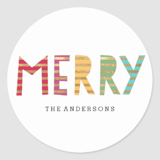 Fun Merry Custom Holiday Sticker or Labels