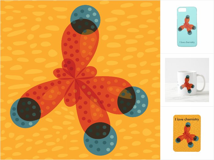 Zazzle collection of products with an abstract illustration of and orange methane molecule