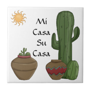 Fun Mi Casa Su Casa Welcome Spanish Greeting Ceramic Tile